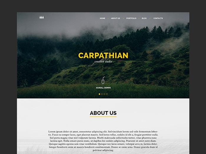 Carpathian – Free Creative One Page PSD Template