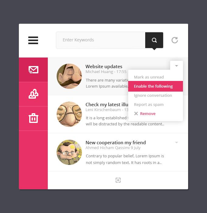 Mini Mail User Interface PSD