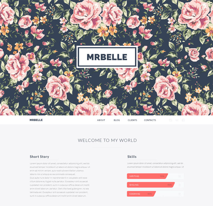 Mrbelle One Page PSD Template