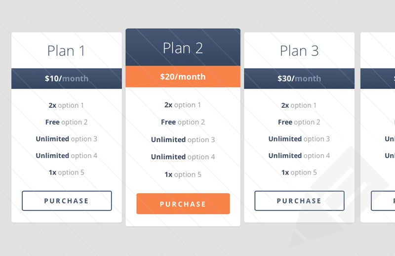 Free Flat Responsive Pricing Table