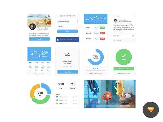 Free Simple and Clean UI Kit