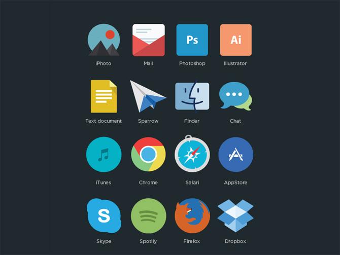Free Flat Minimalistic Program Icons