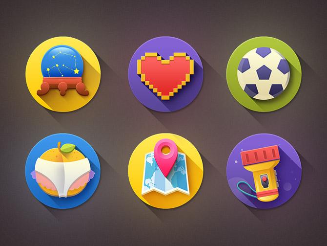 Kinda Flat Icons with shadows PSD
