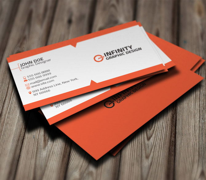 Orange Business Card Template for Designer