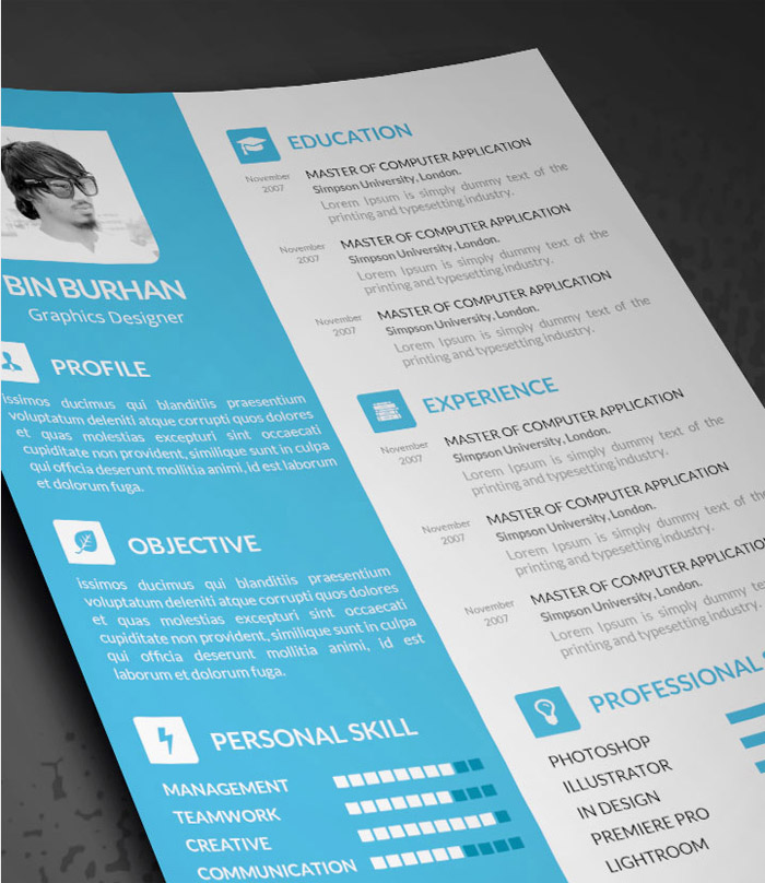 Free Resume PSD Template with CV