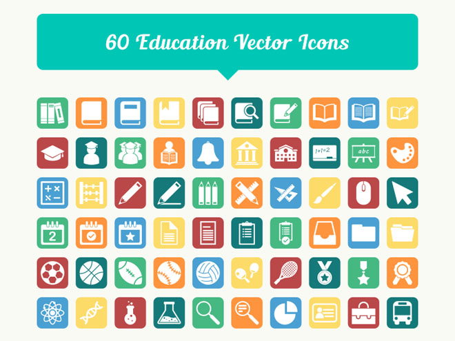 60 Free Education Vector Icons