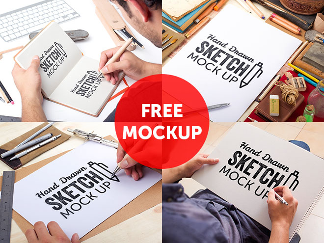4 Free Hand Drawn Sketch Mockups