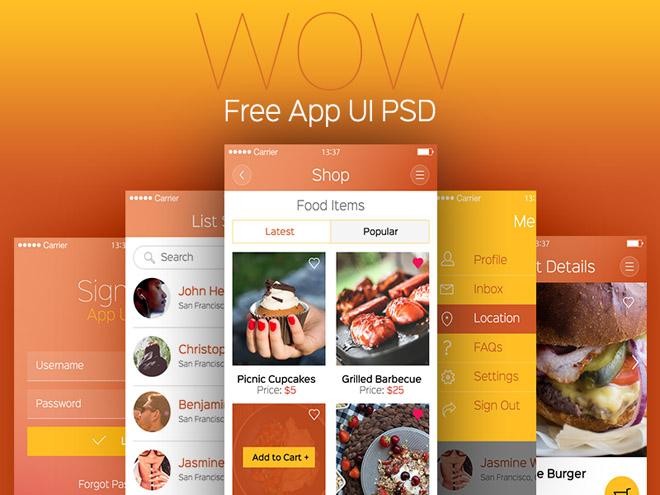 WOW : Free Modern Mobile Apps UI PSD