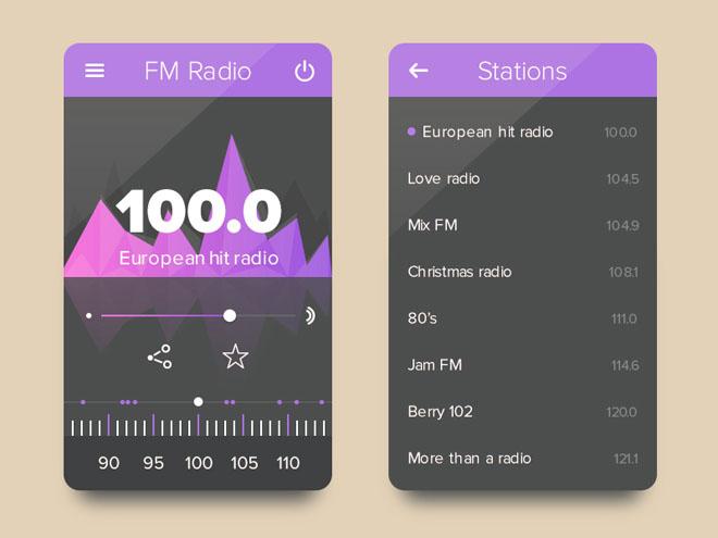 Free Radio App UI PSD