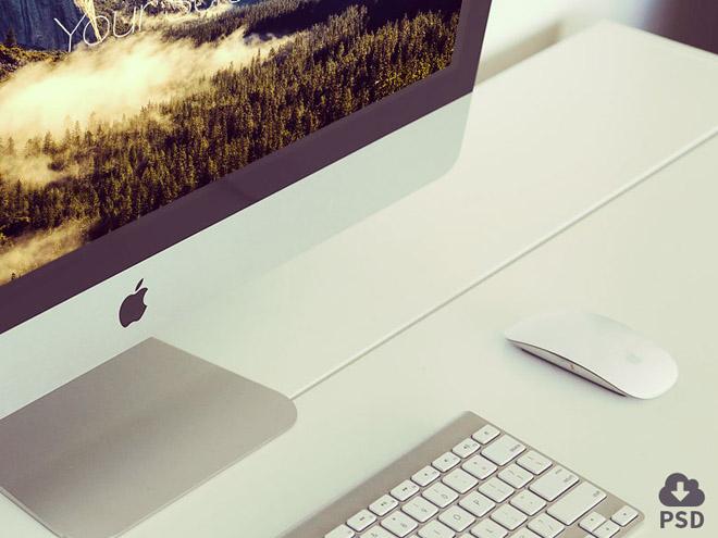 4 Free Photorealistic iMac Mockups PSD