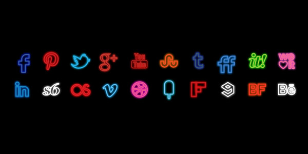 Neon Social Icons Set