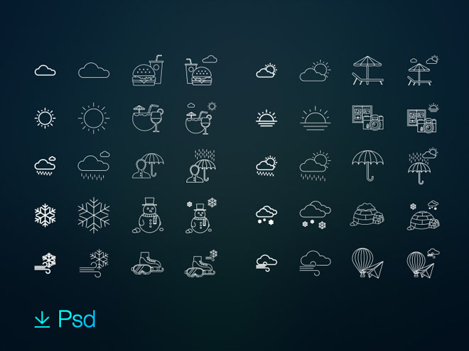 80 Free Weather & Activities Icons