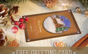 Free Retro Christmas Postcard PSD Template