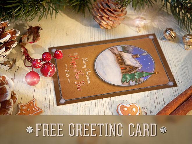 Free Retro Christmas Postcard PSD Template