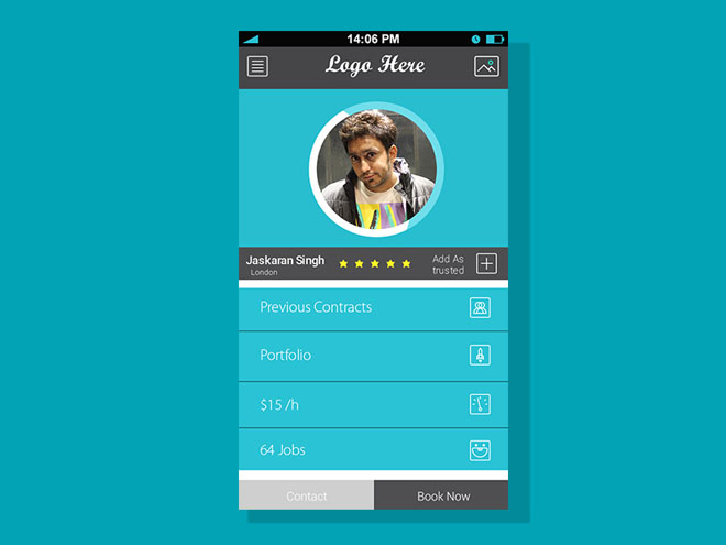 user profile screen for mobile apps  psd