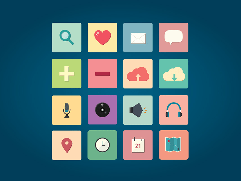 Free Simple Flat Icon Set