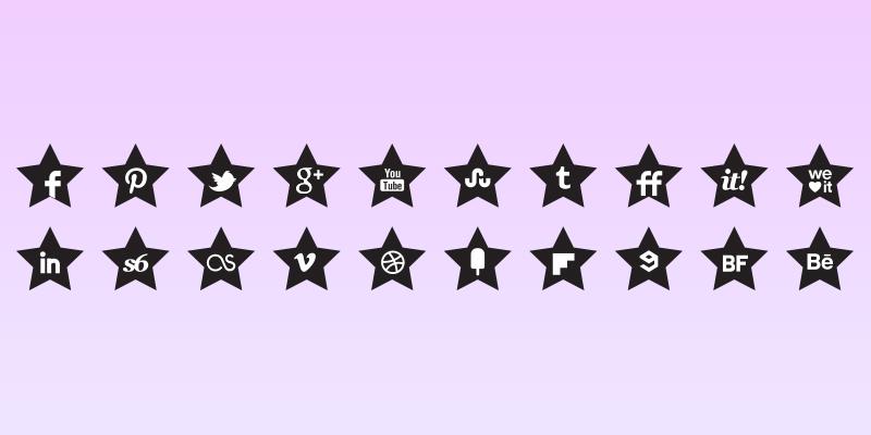 Black Stars Icons Set