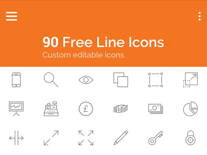 90 Free Editable Line Icons