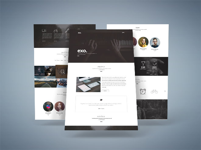 Exo : Free One Page PSD Template