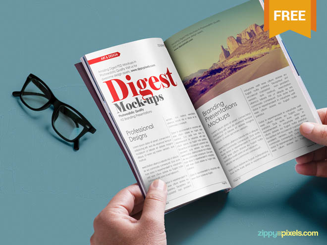 Small Magazine PSD Mockup with Digest-size