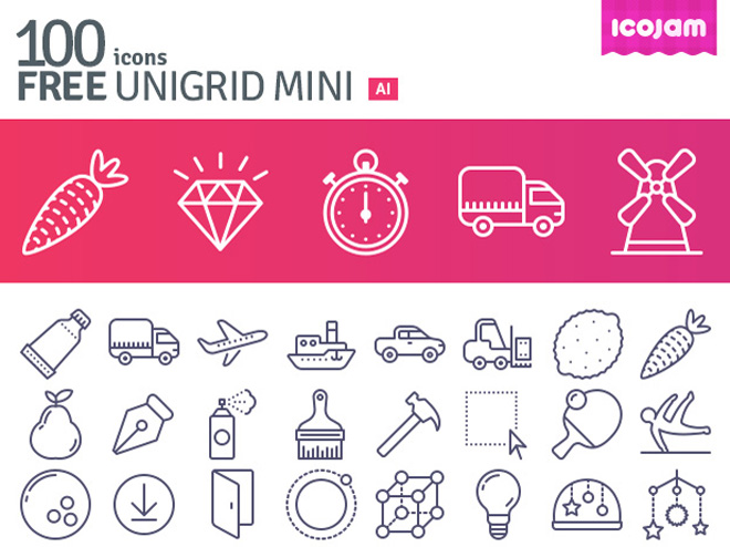 100 Free Unigrid Mini Icon