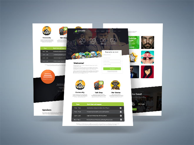 Meetup – Free Event Landing Page PSD Template