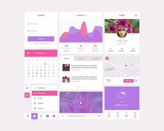 Orchid : Free Flat Floral Style UI Kit