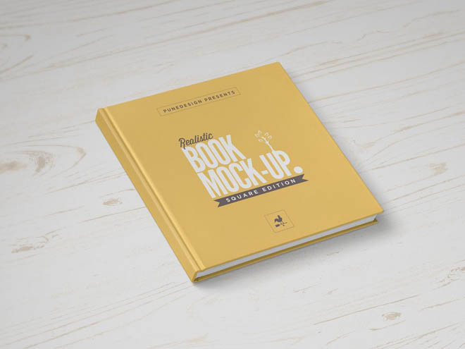 Free Photorealistic Square Book Mockup PSD