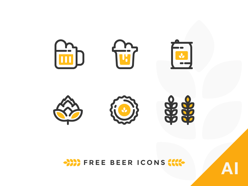 6 Free Vector outline beer icons