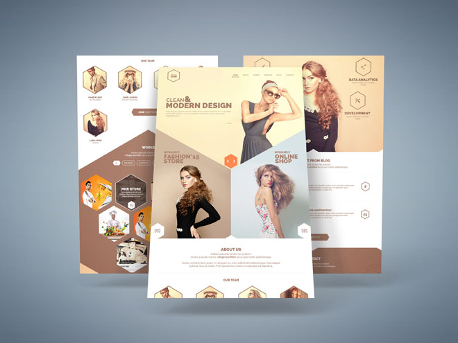 Hexagon : One Page Portfolio PSD Template