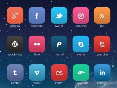 Social Media Icon with iOS7 Style Design