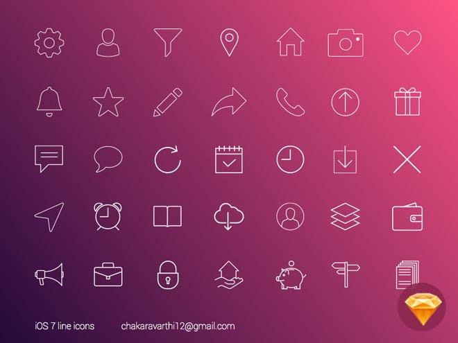 Free Sketch iOS7 line icons