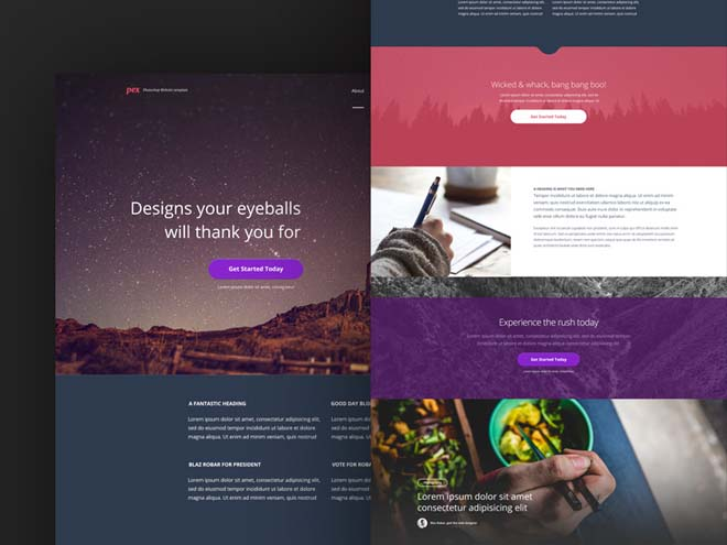 Pex – Free PSD Template with Image Heavy and Block Layout