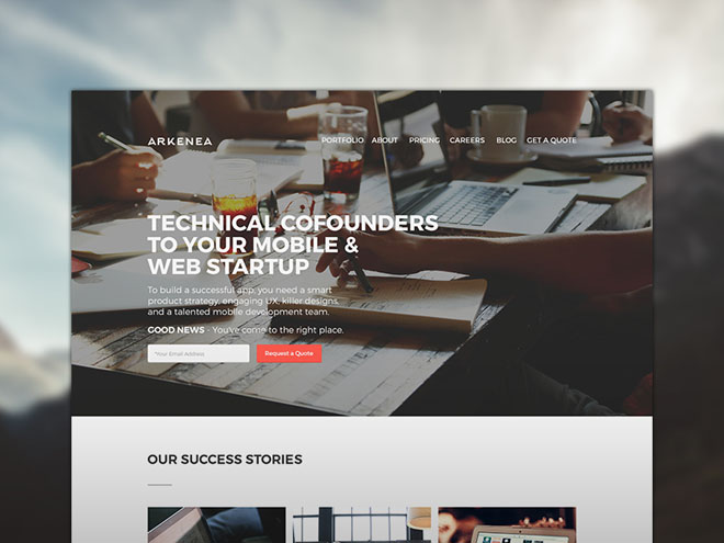Arkenea : Free PSD Template for Startup