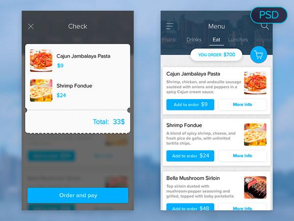 Food menu – Free Mobile UI PSD