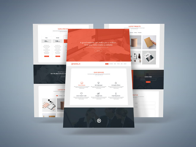 Komola : Free One Page Corporate PSD Template