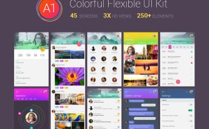 A1 : Free Colorful Mobile UI Kit PSD