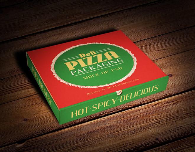 Free Pizza Box Packaging Mockup