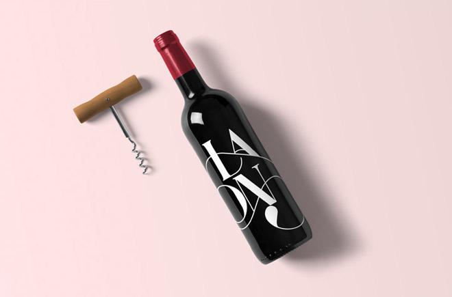 free Realistic Wine Bottle Mockup with Corkscrew