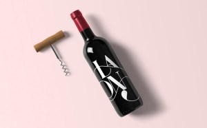 free Realistic Wine Bottle Mockup with Corkscrew