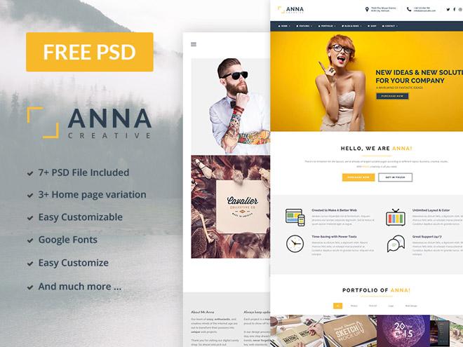Anna : Free Multipurpose PSD Template