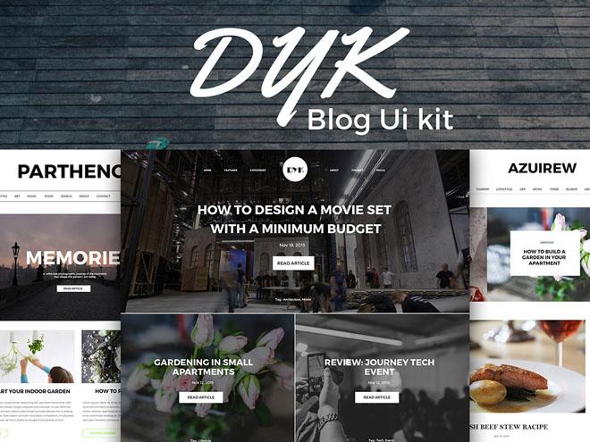Dyk- Free Blog UI Kit PSD