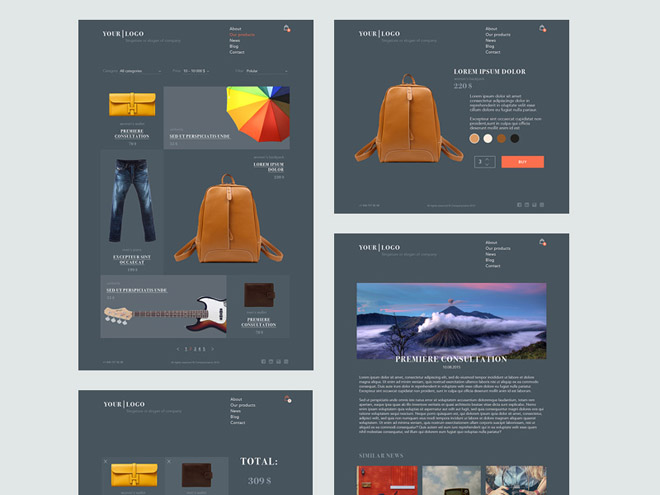 Free Flat Ecommerce PSD Template