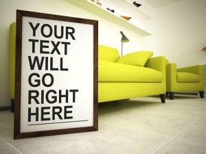 Frame PSD Mockup on The Living Room