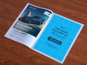 Free Two Pages Magazine Ad Mockup