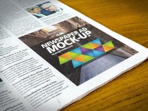 Newspaper Advert Mockup PSD