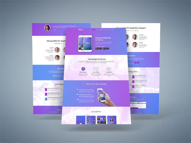 Olivia: Free Mobile App PSD Landing Page
