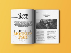 Realistic Open Book Mockup PSD