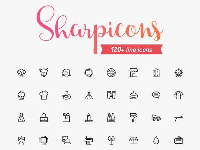 Sharpicons : 120 Free Line Icons