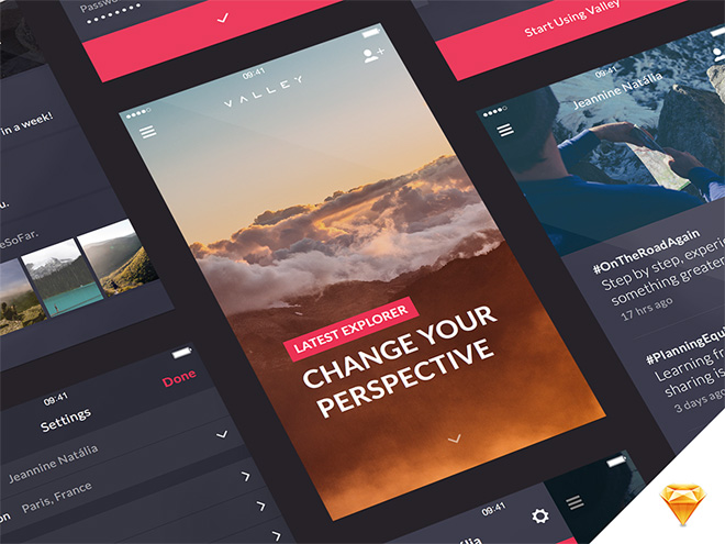 Valley : Mobile UI Kit (Sketch)